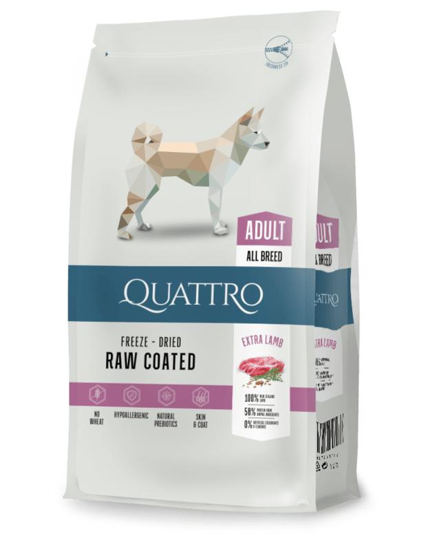 QUATTRO Extra Lamb su ėriena sausas šunų pašaras, 12kg